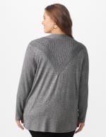 Roz & Ali Everyday Cardigan - Plus - Black/White Marled - Back