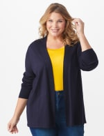 Roz & Ali Everyday Cardigan - Plus - Navy - Front