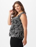 Westport Paisley Mesh Tiered Knit Top - Plus - 4