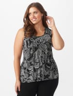 Westport Paisley Mesh Tiered Knit Top - Plus - Black - Front