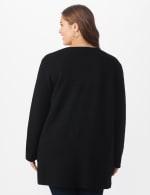 Roz & Ali Inner Beauty Coatigan Sweater  - Plus - Black/Heather Grey - Back