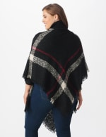 Roz & Ali Plaid Sweater Poncho - Plus - Black Combo - Back
