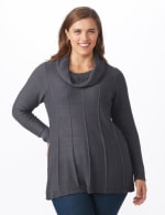 Cowl Neck Fit & Flare Sweater - Slate Grey - Front