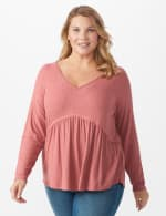 Pointelle V-Neck Knit Top - Plus - Mauve - Front