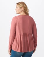 Pointelle V-Neck Knit Top - Plus - Mauve - Back
