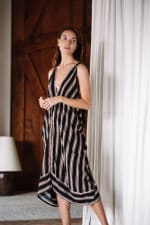 Striped Loose Sleeveless Dress - Black stripe - Front