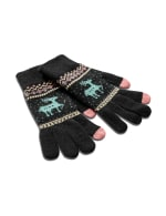Touch Screen Cozy Fair Isle Gloves - Black - Front