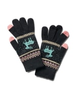 Touch Screen Cozy Fair Isle Gloves - Black - Back