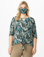 Teal Bohemian Fashion Mask - Teal - Front