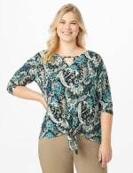 Westport Bohemian Print Knit Top - Plus - Teal/Black - Front