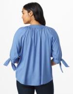 Westport Tie Sleeve Button Front Blouse - Bijoux Blue - Back