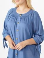 Westport Tie Sleeve Button Front Blouse - Plus - 4