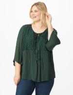 Westport Crochet Yoke Peasant Blouse - Plus - Spruce - Front