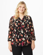 Roz & Ali Floral Pintuck Popover - Plus - Black Multi - Front
