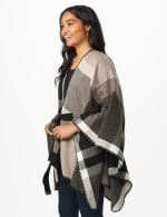Plaid Belted Poncho - 9