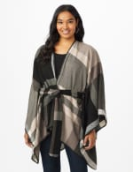 Plaid Belted Poncho - Black/Grey Combo - Front