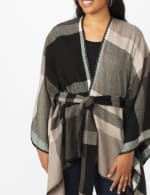Plaid Belted Poncho - 10