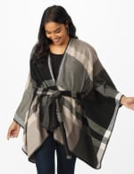 Plaid Belted Poncho - 11