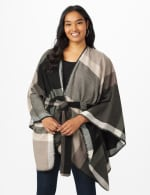 Plaid Belted Poncho - 12