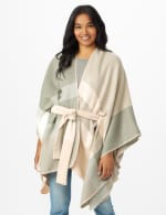 Plaid Belted Poncho - Pink Combo - Front