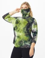 """Never Forget Your Mask"" Denim Friendly Tie Dye Top - Plus - Olive/Navy - Front"