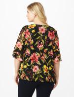 Westport Floral Mesh Ruffle Sleeve Top - Plus - Black Multi - Back
