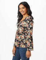 Floral Flare Sleeve Hacci Sweater Knit Top  - Misses - 4