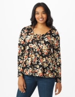 Floral Flare Sleeve Hacci Sweater Knit Top  - Misses - 6