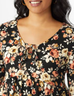 Floral Flare Sleeve Hacci Sweater Knit Top  - Misses - 5