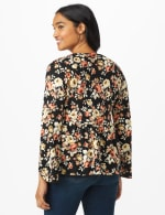 Floral Flare Sleeve Hacci Sweater Knit Top  - Misses - Black/Taupe - Back