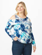 Tie Dye Cold Shoulder Knit Top - Plus - Navy/Aqua - Front