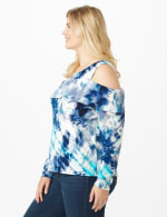 Tie Dye Cold Shoulder Knit Top - Plus - 4