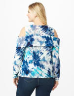 Tie Dye Cold Shoulder Knit Top - Plus - Navy/Aqua - Back