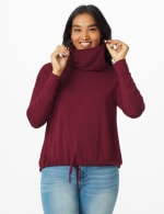 """Modern Mask Top"" Knit Tie Bottom - Misses - Burgundy - Front"