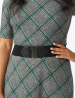Plaid Belted Midi Knit Dress - 5