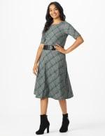Plaid Belted Midi Knit Dress - 4