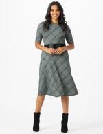Plaid Belted Midi Knit Dress - 6