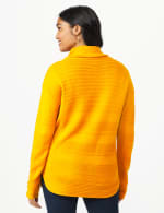 Westport Ottoman Stitch Curved Hem Sweater - Burnt Squash - Back