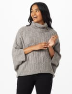 Westport Cable Poncho Sweater - Misses - Felt Grey Heather - Front
