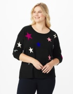 Roz & Ali Stars Pullover Sweater - Plus - Multi - Front