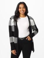 Roz & Ali Plaid Jacquard Sweater Cardigan - 6