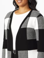 Roz & Ali Plaid Jacquard Sweater Cardigan - 5