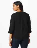 Roz & Ali Side Tie Popover Blouse - Black - Back