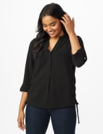 Roz & Ali Side Tie Popover Blouse - Black - Front