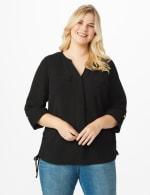 Roz & Ali Side Tie Popover Blouse - Plus - Black - Front