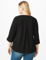 Roz & Ali Side Tie Popover Blouse - Plus - Black - Back