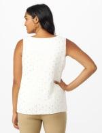 Roz & Ali Clip Dot Sleeveless Bubble Hem Blouse - Off White/Gold - Back