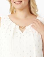 Roz & Ali Clip Dot Sleeveless Bubble Hem Blouse - Plus - 5