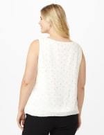 Roz & Ali Clip Dot Bubble Hem Blouse - Plus - Offwhite/Gold - Back