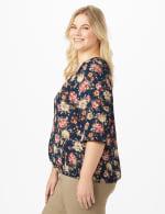 Roz & Ali  Navy Floral Bubble Hem Blouse - Plus - 4